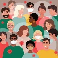 massa's mensen met maskers en zonder, gevaccineerd en niet-gevaccineerd vector