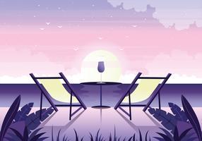 Vector mooie romantische landschap illustratie