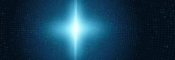 lichtkring microchiptechnologie op blauwe toekomstige achtergrond vector