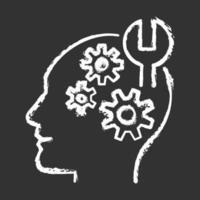nieuwe vaardigheden leren krijt wit pictogram op zwarte achtergrond vector