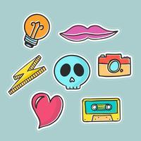 Moderne pop-artstickers vector