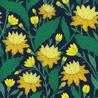 naadloze patroon met mooie gele kleuren op een donkerblauwe achtergrond vector