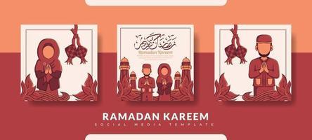 ramadan postsjabloon, sociale media postsjabloon ingesteld vector