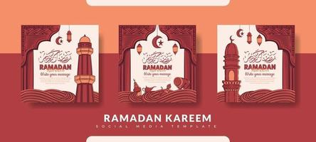 ramadan postsjabloon, sociale media postsjabloon ingesteld vector