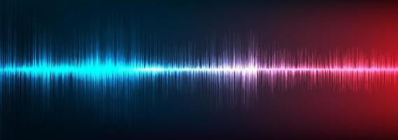blauwe en rode digitale geluidsgolfachtergrond vector