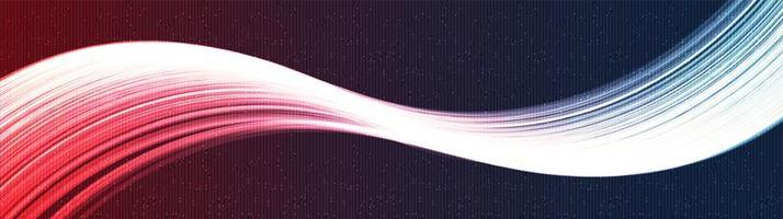 panorama rode en blauwe golvende technische achtergrond vector
