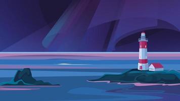landschap met vuurtoren in de nacht. vector
