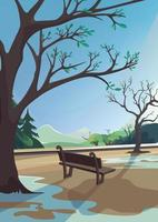 lentepark op achtergrond van bos en bergen. natuurlandschap in verticale oriëntatie. vector