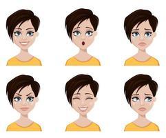 gezichtsuitdrukkingen van vrouw met modieus kapsel. vector
