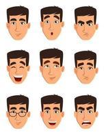 gezichtsuitdrukkingen van een zakenman. verschillende mannelijke emoties instellen. vector