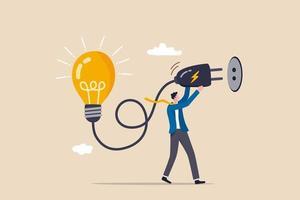 probleemoplossend idee, nieuwe innovatie bedenken of nadenken over een nieuw bedrijfsideeconcept vector