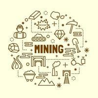 mijnbouw minimale dunne lijn iconen set vector