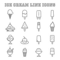 ijs lijn pictogrammen vector