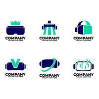 virtueel logo set met blauwe kleur vector