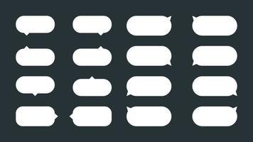 een set van 16 eenvoudige, afgeronde tooltips of tekstballonnen. platte vector tekstballonnen, dialoogballonnen of tekstballonnen. kan worden gebruikt in strips en als tips, hints of meldingen op websites.