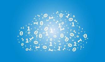een wolk van cijfers nul en één - binaire code - illustratie over het onderwerp serverloze architectuur en cloud computing. vector