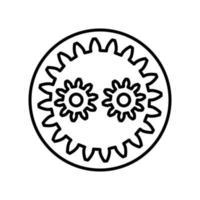 planetaire versnelling overzicht pictogram. zwart-wit vector item uit set, gewijd aan wetenschap en technologie.