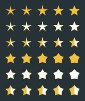 een set van 30 vijfpuntige sterren voor beoordelingen op webpagina's. de sterren hebben 10 verschillende vormen en drie kleurenschema's. zo kan de gebruiker niet alleen de hele score geven, maar ook de helft ervan. vector