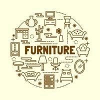 meubels minimale dunne lijn iconen set vector