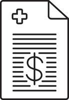 lijn pictogram voor medische factuur vector