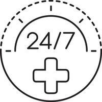 lijnpictogram voor vierentwintig bij zeven vector