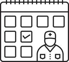 lijnpictogram voor dag van doktersbezoek vector