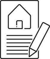 lijn pictogram voor taxatie van onroerend goed vector
