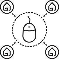 lijnpictogram voor onroerend goed online vector
