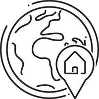 lijnpictogram voor wereldwijde onroerendgoedlocatie vector