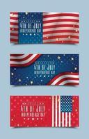 gelukkige 4 juli banners van de onafhankelijkheidsdag vector