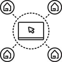 lijnpictogram voor online ondersteuning van onroerend goed vector