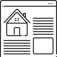 lijnpictogram voor onroerendgoedwebsites vector
