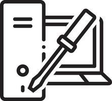 lijnpictogram voor reparatie van pc en laptop vector