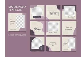 sjabloon mode vrouwen sociale media puzzel post vector