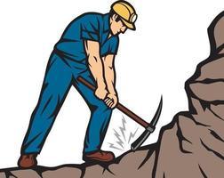 zelfverzekerde mijnwerker met pikhouweel vectorillustratie vector