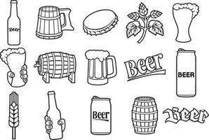 bier dunne lijn pictogrammen vector