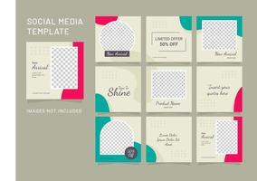 sociale media mode vrouwen puzzel sjabloon feed vector