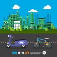 auto op de weg en in de stad vector