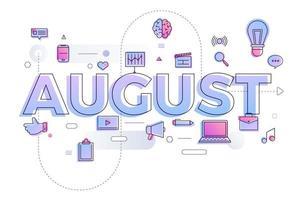 typografie illustraties augustus vector