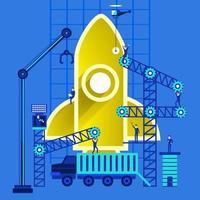 het bouwen van raket opstarten vector