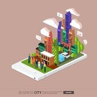 isometrisch illustreren mobiele stad vector