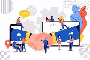teamwork handdruk illustraties vector