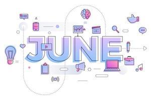 typografie maand juni vector