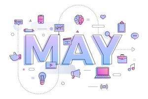 typografie maand mei vector