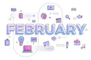 typografie maand februari vector
