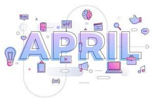 typografie maand april vector