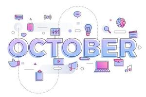 typografie maand oktober vector