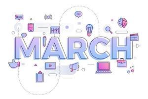 typografie maand maart vector