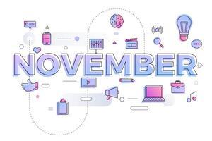 typografie maand november vector