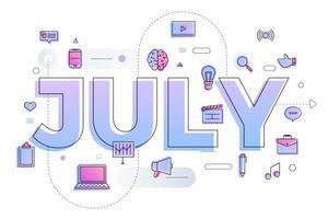 typografie maand juli vector
